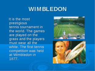 WIMBLEDON It is the most prestigious tennis tournament in the world. The game