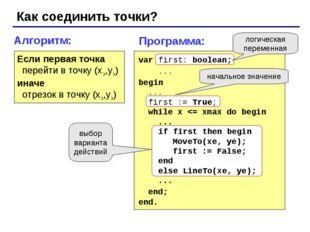 Как соединить точки? Алгоритм: Если первая точка перейти в точку (xэ,yэ) инач