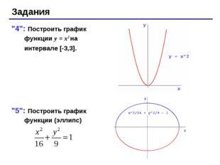 """Задания """"4"""": Построить график функции y = x2 на интервале [-3,3]. """"5"""": Постро"""