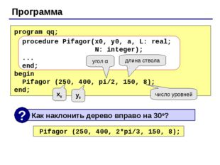 Программа program qq; procedure Pifagor(x0, y0, a, L: real; N: integer); ...