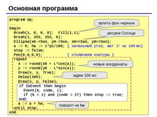 Основная программа program qq; ... begin Brush(1, 0, 0, 0); Fill(1,1); Brush(
