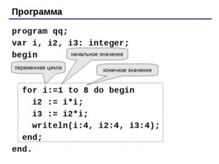 Программа program qq; var i, i2, i3: integer; begin for i:=1 to 8 do begin i2