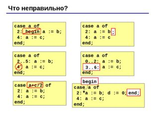 Что неправильно? case a of 2: begin a := b; 4: a := c; end; case a of 2: a :=