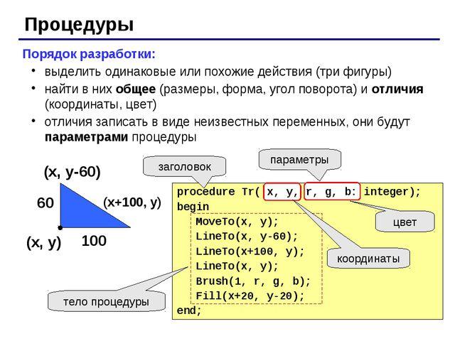 Процедуры Порядок разработки: выделить одинаковые или похожие действия (три ф...