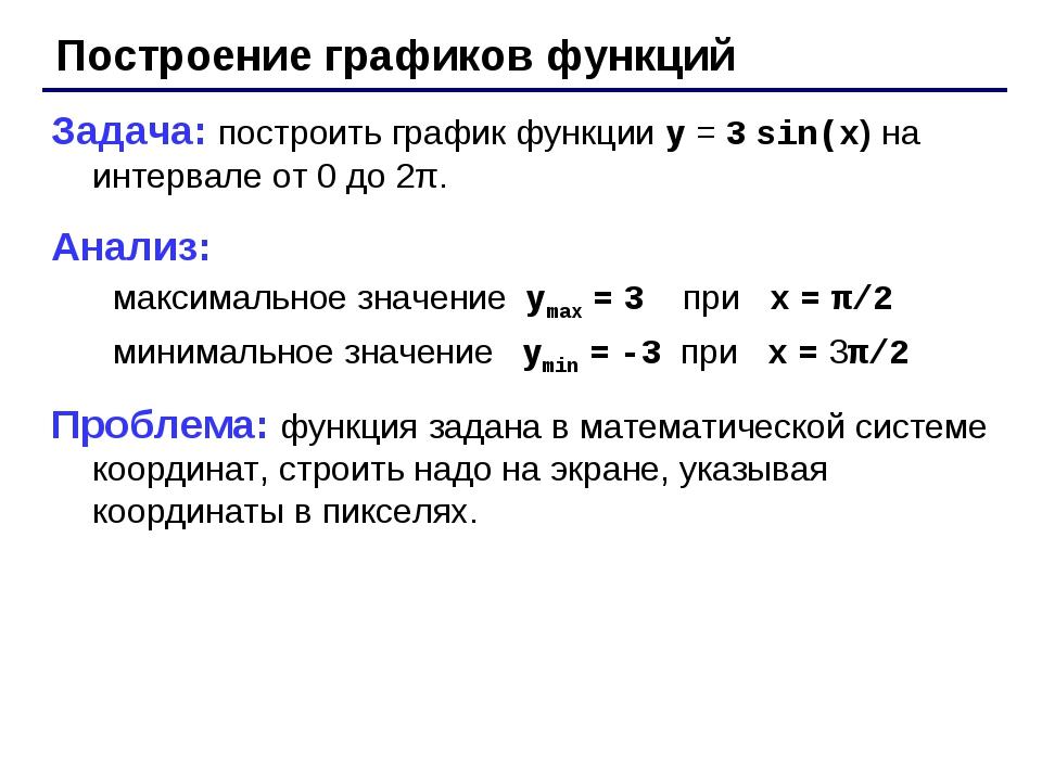 Построение графиков функций Задача: построить график функции y = 3 sin(x) на...