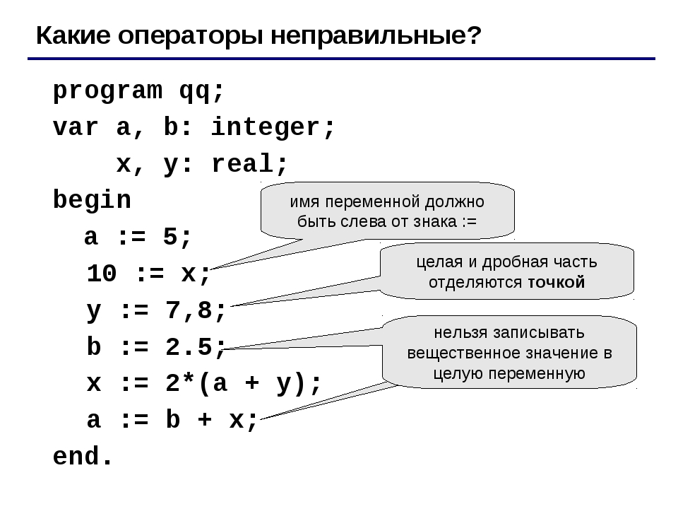 program qq; 	var a, b: integer; 		 x, y: real; 	begin 	 a := 5; 10 := x; y :...