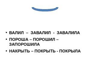 ВАЛИЛ – ЗАВАЛИЛ - ЗАВАЛИЛА ПОРОША – ПОРОШИЛ – ЗАПОРОШИЛА НАКРЫТЬ – ПОКРЫТЬ -