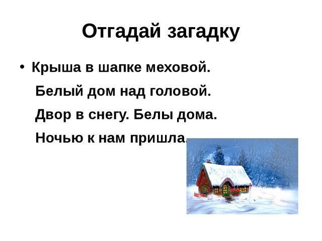 Отгадай загадку Крыша в шапке меховой. Белый дом над головой. Двор в снегу. Б...