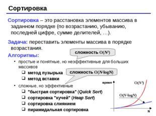Сортировка Сортировка – это расстановка элементов массива в заданном порядке