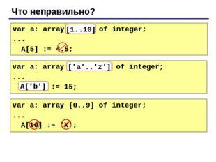 Что неправильно? var a: array[10..1] of integer; ... A[5] := 4.5; [1..10] var
