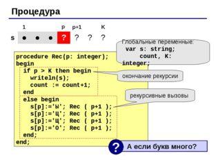Процедура procedure Rec(p: integer); begin if p > K then begin writeln(s); co