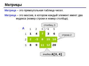 Матрицы Матрица – это прямоугольная таблица чисел. Матрица – это массив, в ко