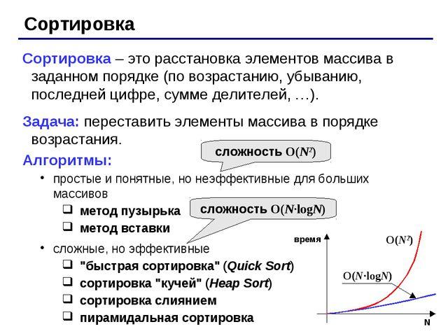 Сортировка Сортировка – это расстановка элементов массива в заданном порядке...