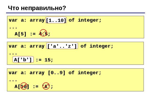 Что неправильно? var a: array[10..1] of integer; ... A[5] := 4.5; [1..10] var...