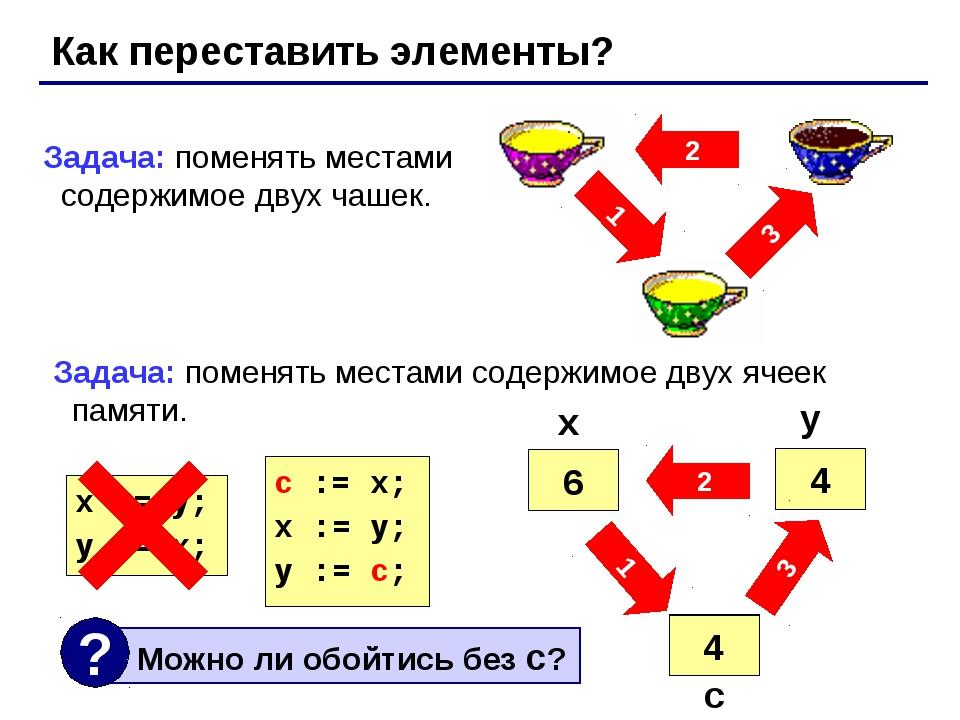 Как переставить элементы? 2 3 1 Задача: поменять местами содержимое двух чаше...