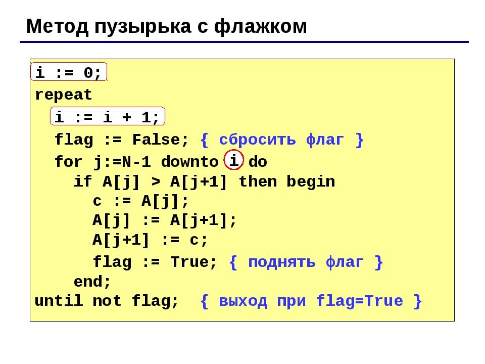 Метод пузырька с флажком i := 0; repeat i := i + 1; flag := False; { сбросить...