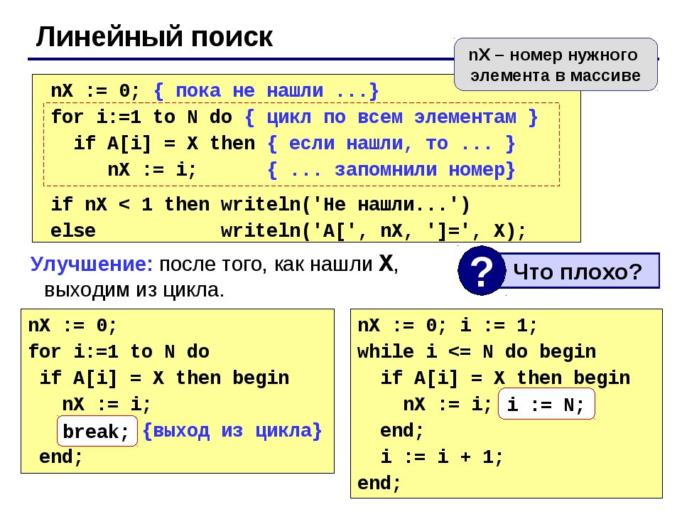 Линейный поиск nX := 0; for i:=1 to N do if A[i] = X then begin nX := i; brea...