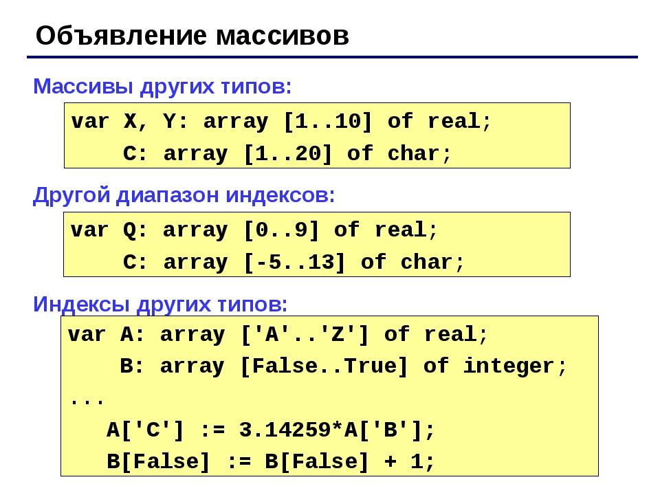 Объявление массивов Массивы других типов: Другой диапазон индексов: Индексы д...