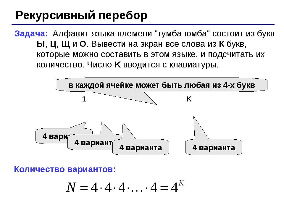 """Рекурсивный перебор Задача: Алфавит языка племени """"тумба-юмба"""" состоит из бук..."""