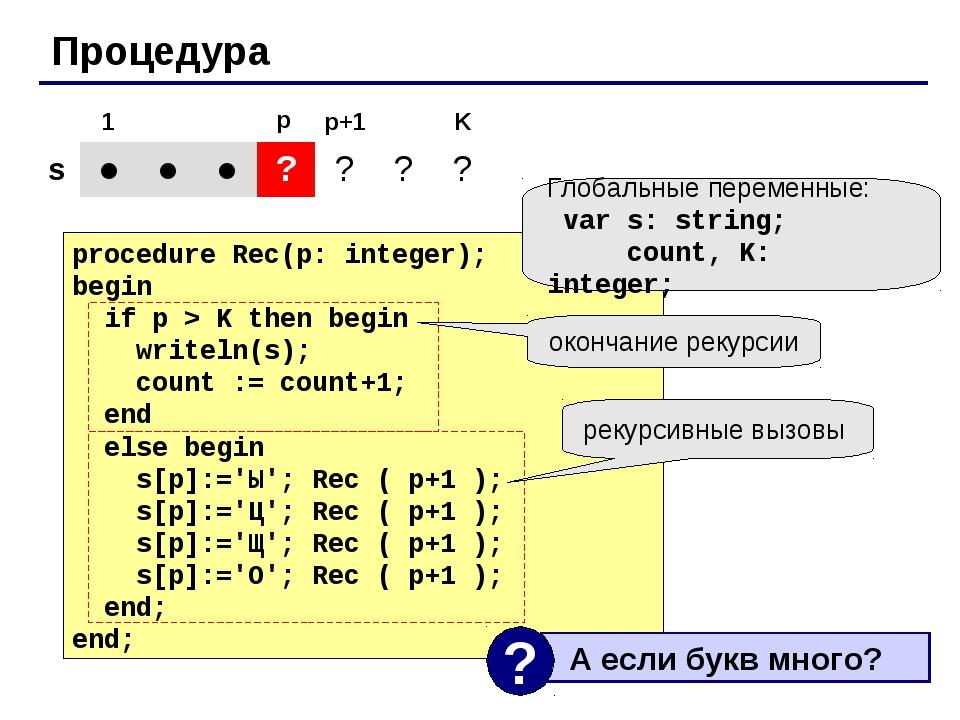 Процедура procedure Rec(p: integer); begin if p > K then begin writeln(s); co...