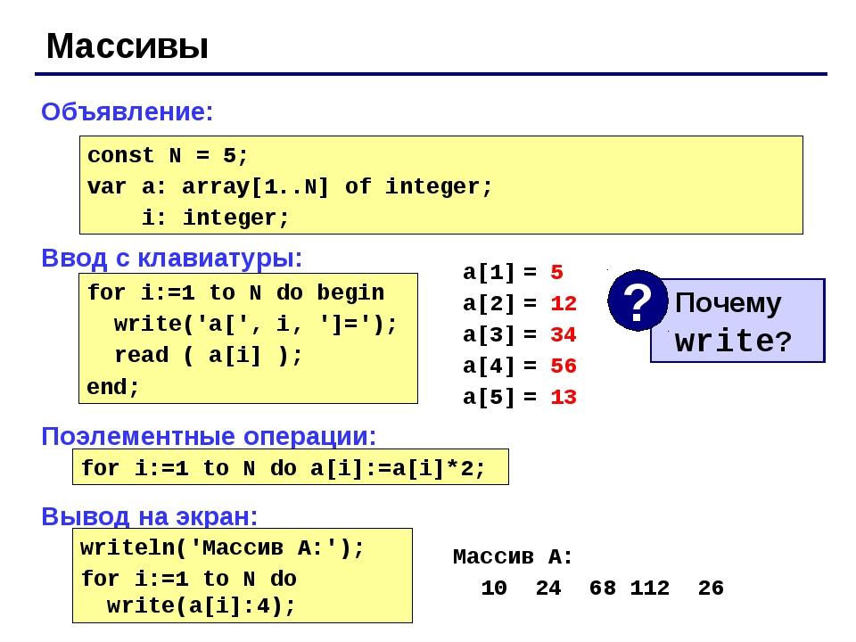 Массивы Объявление: Ввод с клавиатуры: Поэлементные операции: Вывод на экран:...