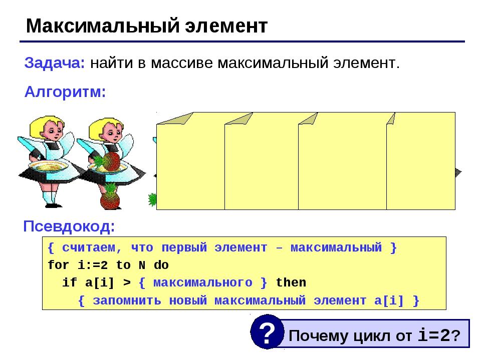 Максимальный элемент Задача: найти в массиве максимальный элемент. Алгоритм:...