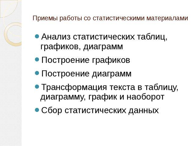Приемы работы со статистическими материалами Анализ статистических таблиц, гр...