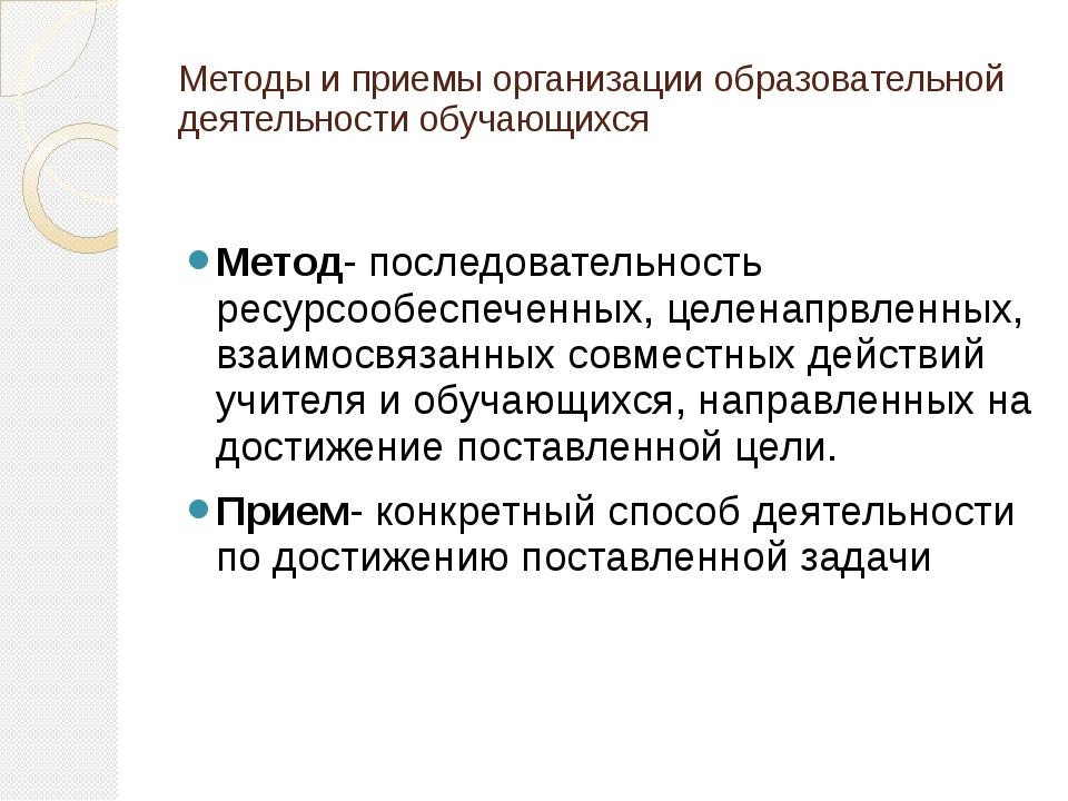 Методы и приемы организации образовательной деятельности обучающихся Метод- п...