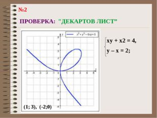 """ПРОВЕРКА: """"ДЕКАРТОВ ЛИСТ"""" (1; 3), (-2;0) xy + x2 = 4, y – x = 2; №2"""