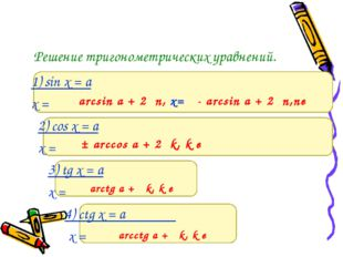 Решение тригонометрических уравнений. 1) sin x = a x = 2) cos x = a x = 3) tg