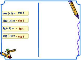 cos (- t) = sin (- t) = tg (- t) = ctg (- t) = cos t - sin t - tg t - ctg t