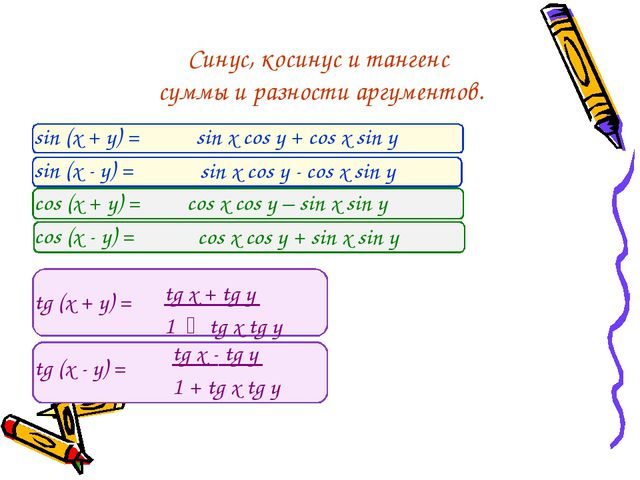 Синус, косинус и тангенс суммы и разности аргументов. sin (x + y) = sin (x -...
