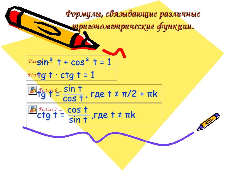 Формулы, связывающие различные тригонометрические функции.