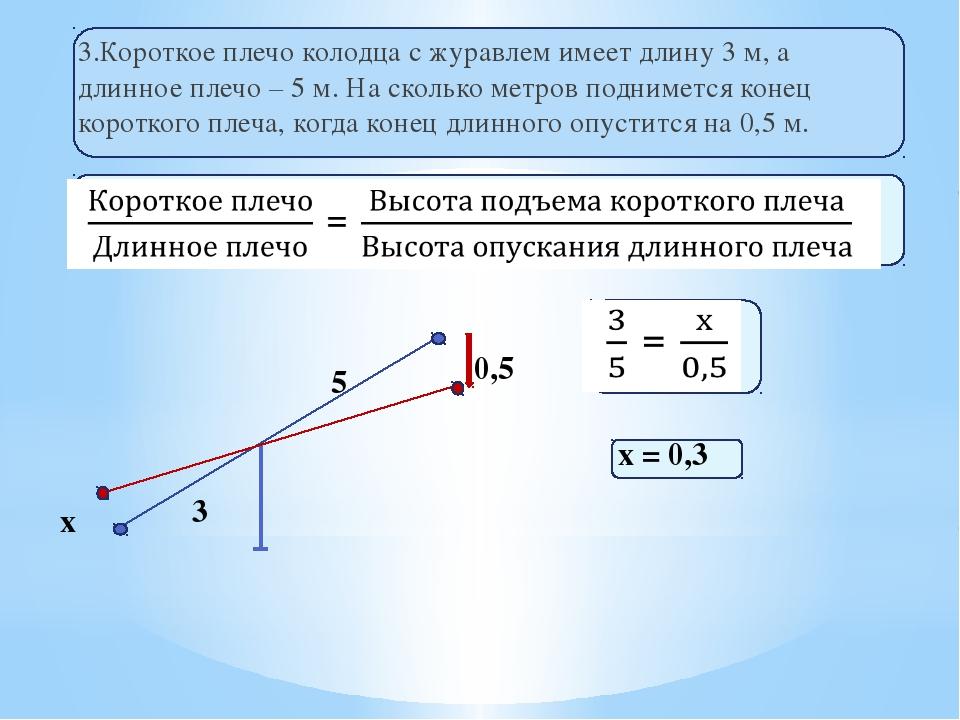 3.Короткое плечо колодца с журавлем имеет длину 3 м, а длинное плечо – 5 м. Н...