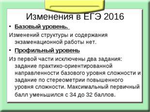 Изменения в ЕГЭ 2016 Базовый уровень. Изменений структуры и содержания экзаме