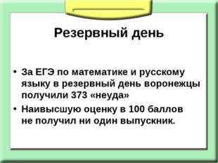 Резервный день ЗаЕГЭ поматематике ирусскому языку врезервный день воронеж