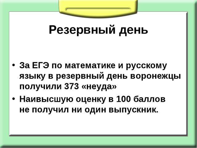 Резервный день ЗаЕГЭ поматематике ирусскому языку врезервный день воронеж...