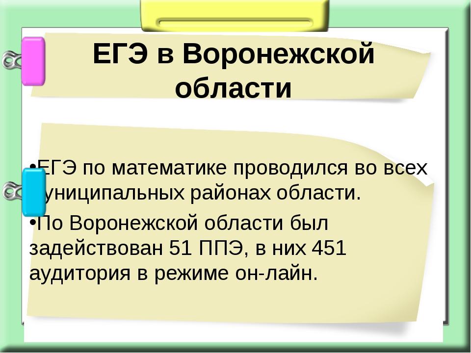ЕГЭ по математике проводился во всех муниципальных районах области. По Ворон...