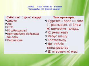 2-сабақ Қазақ тілі пәні 4-сынып Тақырыбы: «Cөйлем мүшелері» Сабақтың әдіс-тә