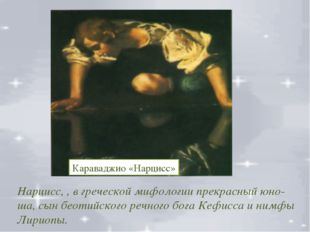 Нарцисс, , в греческой мифологии прекрасный юно-ша, сын беотийского речного б