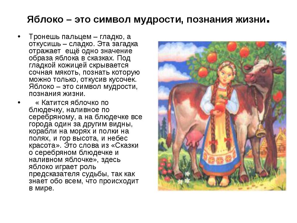 Яблоко – это символ мудрости, познания жизни. Тронешь пальцем – гладко, а отк...