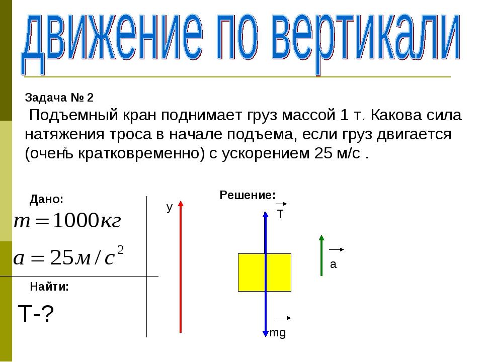 Задача № 2 Подъемный кран поднимает груз массой 1 т. Какова сила натяжения тр...