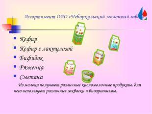 Ассортимент ОАО «Чебаркульский молочный завод» Кефир Кефир с лактулозой Бифид