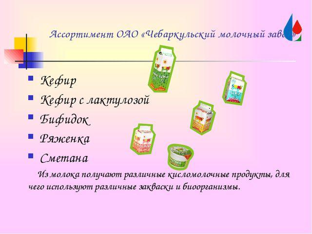 Ассортимент ОАО «Чебаркульский молочный завод» Кефир Кефир с лактулозой Бифид...