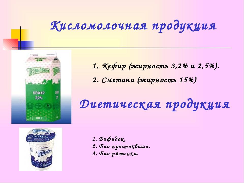 Кисломолочная продукция Кефир (жирность 3,2% и 2,5%). Сметана (жирность 15%)...