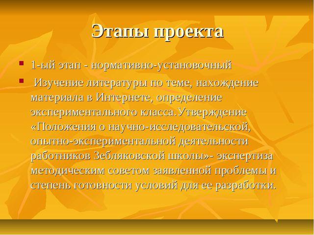Этапы проекта 1-ый этап - нормативно-установочный Изучение литературы по теме...