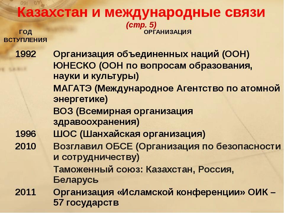Казахстан и международные связи (стр. 5) ГОД ВСТУПЛЕНИЯ ОРГАНИЗАЦИЯ 1992 Орг...