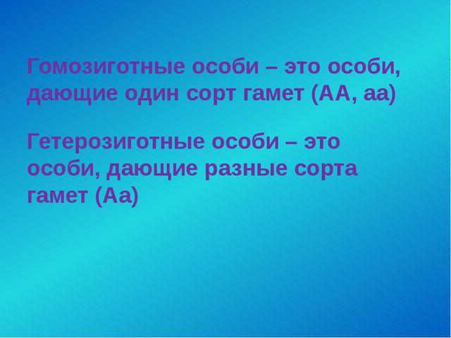 Гомозиготные особи – это особи, дающие один сорт гамет (АА, аа) Гетерозиготны...