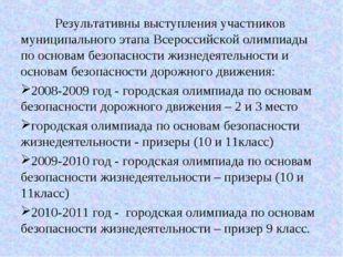Результативны выступления участников муниципального этапа Всероссийской олим