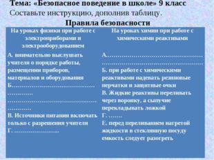 Тема: «Безопасное поведение в школе» 9 класс Составьте инструкцию, дополнив